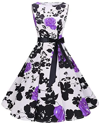 Women's Vintage Bbonlinedress 1950s Flower Rockabilly Purple Dress Summer Audrey Swing dIqU1wq