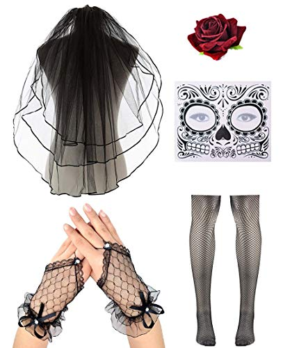 Women Halloween Day of the Dead Veil With Flower in Black Lace Necklace Earring Set (Black #1)]()