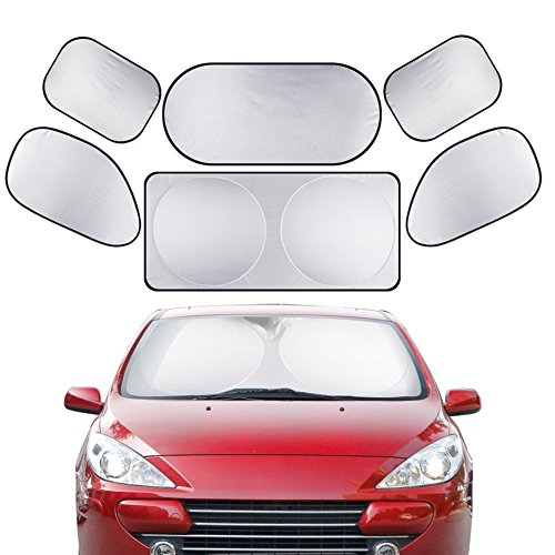 XPLUS 6Pcs All Car Glass Sunshade for Car Truck SUV Minivan - Include Windshield, Rear Window, Side Window - UV Protector Folding Silvering Sun Shade, Keeps Vehicle Cooler (Lightweights Lightweights Shade Collection)