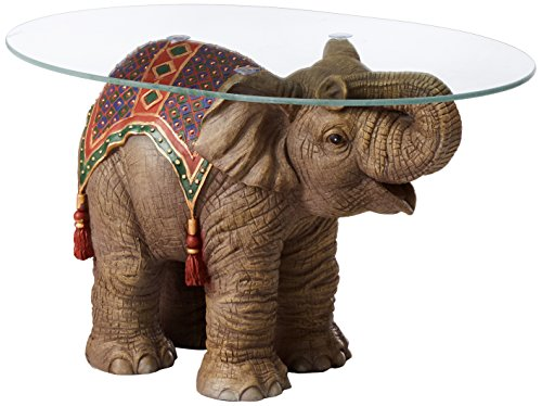 Design Toscano Jaipur Elephant Festival Indian Decor Coffee Table with Glass Top, 30 Inch, Polyresin, Full Color
