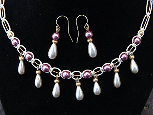 Vintage 1930's teardrop glass pearl beads, Czech glass, pink, gold, cream micro-macrame leather & wire Renaissance 16