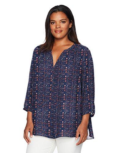 (NYDJ Women's Plus Size 3/4 Sleeve Pintuck Blouse, Vintage Merit Navy,)