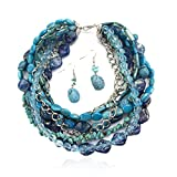 LookLove Women's Jewelry Blue Statement Necklace and Earring Set