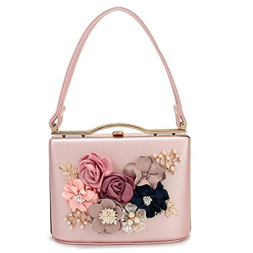 Women's Satin Flower Evening Clutch Bags Pearl Beaded Evening Handbag For Prom Bride Wedding (Pink)