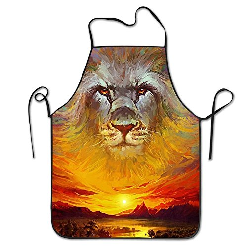 Lion Animal Aprons For Women/men Black Barbecue Cooking Cloth Funny Chef Apron