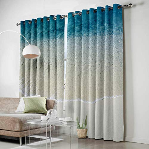 SODIKA Grommet Window Panel Curtain Set, Room Décor Curtain Drapes for Living Room Dining Bedroom - Beach Ocean Theme Blue Turquoise Sand,Each 52 by 84 Inch,Set of Two Panels