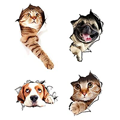 3D Wall Decals Stickers Hole View Vivid Cat and Dog Decals Removable Art Stickers for Bathroom Room /Kids Room/ Refrigerator Decoration 4pcs