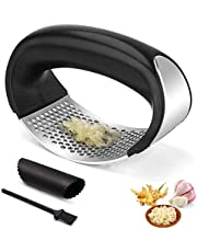 Garlic Press Rocker, Stainless Steel Garlic Mincer with Peeler Set - Rustproof, Easy Use and Clean, Dishwasher Safe, Squeezer with Ergonomic Handle, for Home, Kitchen, Outdoor