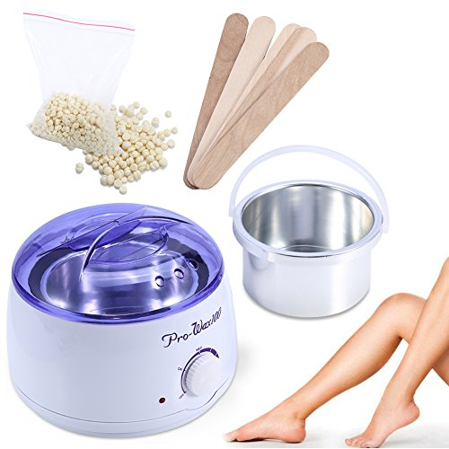 Hair Removal Waxing Kit, Electric Hot Wax Warmer Depilatory Paraffin Wax Pot Warmer Heater with Hard Wax Beans and 5Pcs Applicator Sticks, Cream Flavor