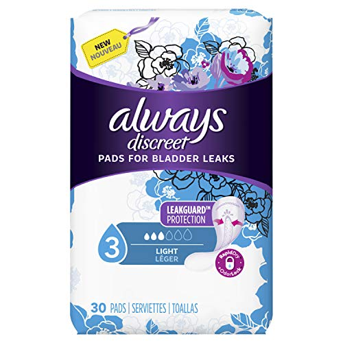 Always Discreet Incontinence Pads for Women, Light Absorbency, 90 Count (30 Count, Pack of 3-90 Count Total)