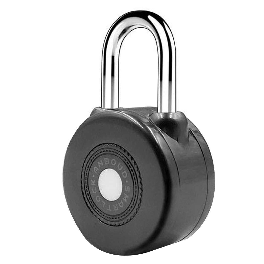 Smart Padlock Bluetooth Unlock Mobile Phone APP Control Dormitory Warehouse Cabinet Door Anti-Theft Lock (Color : Black)