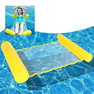 Gxhong Hamaca Flotante, 4 en 1 Silla Inflable de Flotación, Hamaca Inflable para Piscina, Hamaca Inflable de Agua para Adultos y Niños (Amarillo)