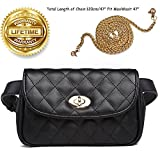 Fanny Pack for Women Fashion Waist Bag PU Quilted Belt Bag Bum Bag Chest Pack with Two Belts (Black)