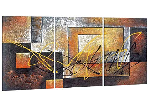 Pyradecor Modern 3 Piece Giclee Canvas Prints Abstract Brown Landscapes Pictures Paintings on Canvas Wall Art Work for Living Room Bedroom Kitchen Home Decorations (Renewed)