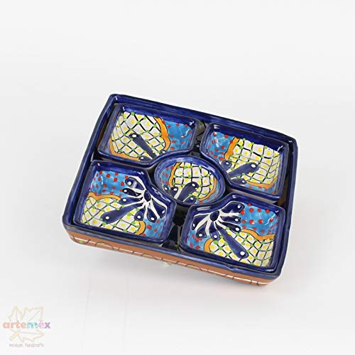 Snack Pottery - Mexican Talavera Botanero - Mexican Pottery - Mexican Dishes - Mexican Plates - Snack Tray - Mexican Kitchen Decor - Design A
