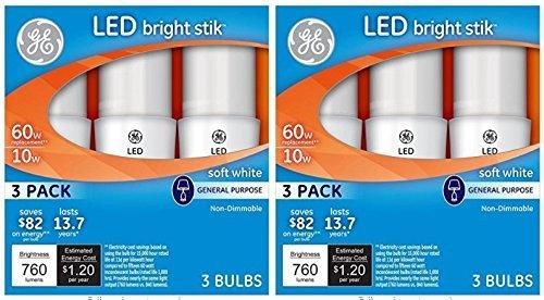 GE Lighting 32282 LED Bright Stik 10-watt (60-Watt Replacement), 760-Lumen Light Bulb with Medium Base, Soft White, 2 Box (6 Bulbs Total) -
