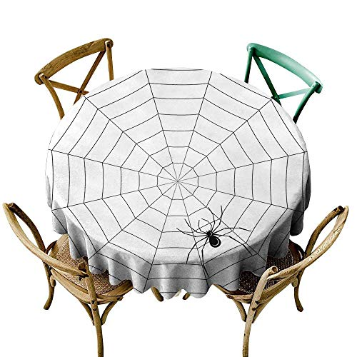 Wendell Joshua Picnic Tablecloth 48 inch Spider Web,Toxic Poisonous Insect Thread Crawly Malicious Bug Halloween Character Design,Black White Printed Indoor Outdoor Camping Picnic Circle Table Cloth