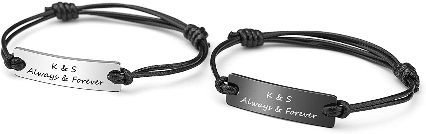 PiercingJ 2pcs Personalized Custom ID Name Couple Bracelet Stainless Steel ID Tag Bar Leather My Word Engraved His and Hers Matching Couple Bracelet Best Friend