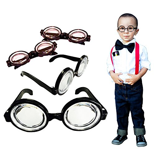 Toy Cubby Party Favor Round Black Framed Nerd Glasses - 12 p