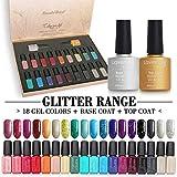 20 PCS Soak Off UV Led Gel Nail Polish Glitter Range - 18 Color Coat n No Wipe Base and Top Coat Starter Gel Nail Kit F988