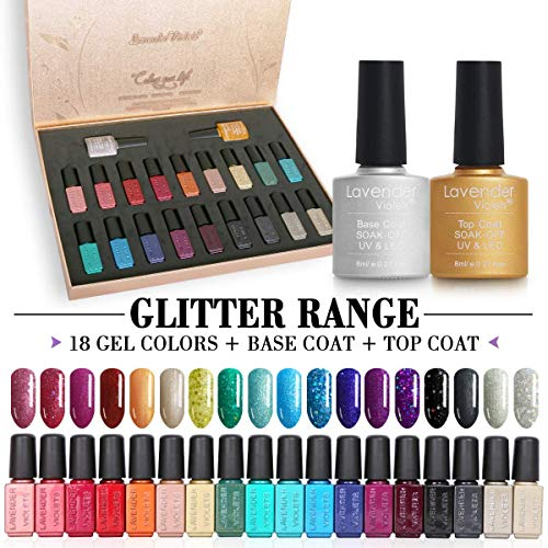 20 PCS Soak Off UV Led Gel Nail Polish Glitter Range - 18 Color Coat n No Wipe Base and Top Coat Starter Gel Nail Kit F988