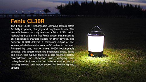 Fenix CL30R 650 lumen USB rechargeable camping lantern / work light, 6 X 18650 rechargeable batteries with Two back-up use EdisonBright CR123A Lithium Batteries long duration bundle by EdisonBright (Image #5)