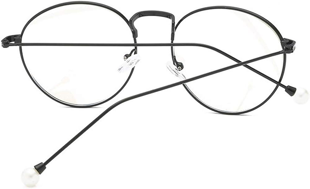 GEMSeven Perle Myopie Brille F/ür Frauen Elegante Metall Round Frame Kurzsichtige Brillen