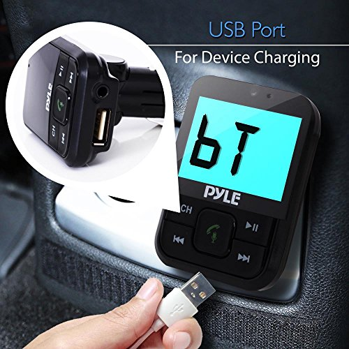 Pyle FM Transmitter - 2.1 Bluetooth Radio Adapter and Car Charger Device for Wireless Audio Streaming, Hands Free Calling, MP3, USB, Micro SD and AUX Media File Support with Digital LCD Display(PBT95)
