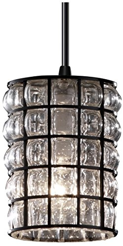 Justice Design Group Wire Glass 1-Light Pendant - Matte Black Finish with Grid with Clear Bubbles Wire Cage with Blown Glass Shade