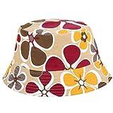 VPASS- Womens Army Fisherman Sun Hat Adjustable Bucket Foldable Cap Sun Hat UV Protection Beach Hat Flower Print Boonie Hats Nepalese (D)
