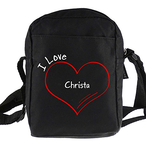 Umhängetasche Modern I Love Christa schwarz
