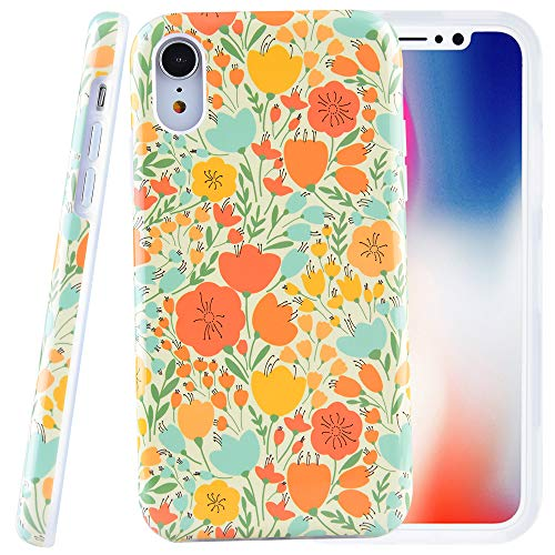 Dimaka Case for iPhone XR, Vintage Floral Flowers Pattern Case, 2 Layer TPU + PC Protective Slim Cover for iPhone XR (Retro Patined Floral)