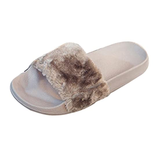 hunpta Womens Ladies Slip On Sliders Fluffy Faux Fur Flat Slipper Flip Flop  Sandal: Amazon.co.uk: Shoes & Bags