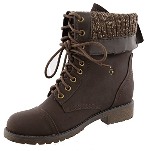 Snap Moda Up Mid Calf Moto Boot Brown Lace Fold Top Women's Over Cuff Combat Zw0qZ6Rd