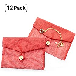 """Linen and Bags 4-1/3"""" x 6-1/8"""" Red Sheer Organza Mesh Gift Shiny Pearl Envelope Bags for Jewelry, Invitations, Gifts Cash Set of 12 Envelopes"""
