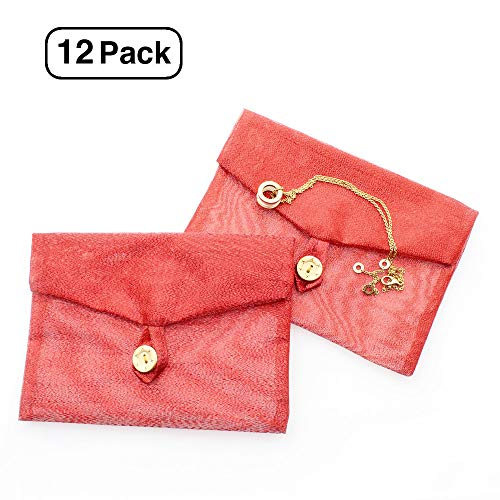 Linen and Bags 4-1/3'' x 6-1/8'' Red Sheer Organza Mesh Gift Shiny Pearl Envelope Bags for Jewelry, Invitations, Gifts Cash Set of 12 Envelopes by Line and Bags