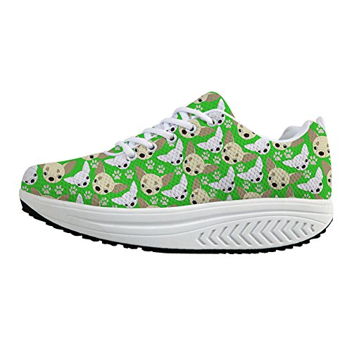 Bigcardesigns Sneaker Donna Chihuahua Sliming Walking Shoes Green