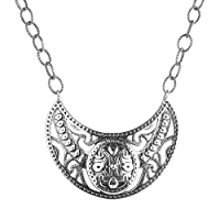 Kenneth Johnson Sterling Silver Gorget Statement Necklace, 20 Inch by Relios