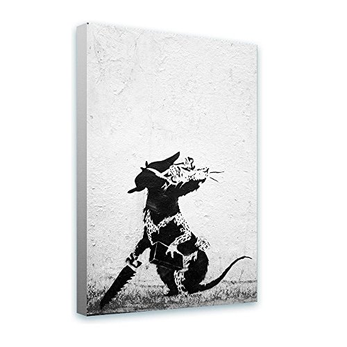 "Alonline Art - Rat With Dollar Eyes And Jigsaw Banksy FRAMED STRETCHED CANVAS (100% Cotton) Gallery Wrapped - READY TO HANG | 12""x18"" - 30x46cm 