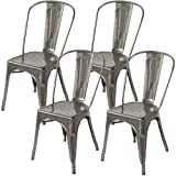 Meubles House S4-MC-001T Stackable Industrial Chic Xavier Pauchard Tolix Style Dining Chair Side Chair, Metal-Galvanized (Set of Four)