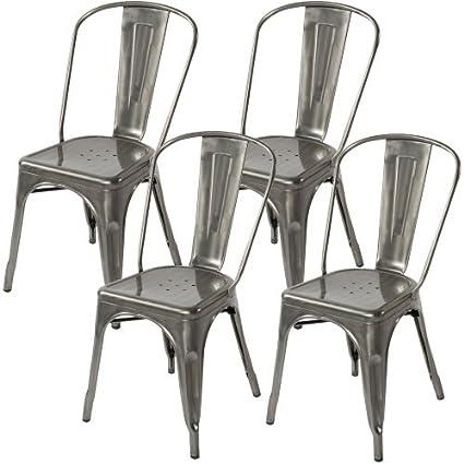 Exceptionnel Lemoderno Galvanized Steel Side Chair (4, Gun Metal)
