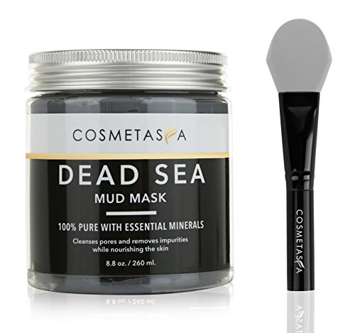 Purifying Dead Sea Mud Mask (Dead Sea Mud Mask Clay with Premium, Silicone Applicator Mask Brush 8.8 oz Acne, Blackhead Remover and Pore Cleansing Mask for Minimizing & Purifying :100% Natural, Paraben & Sulfate Free by Cosmetasa)