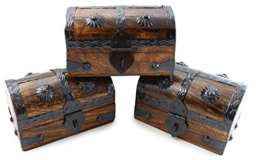 Well Pack Box 3 Pack of Mini Wooden Pirate Chest Durable Toy Treasure Chests Keepsake with Strong Metal Hasp - Great for Kids Parties Events Pirates of the Caribbean Treasure - Pirate Wooden Chest
