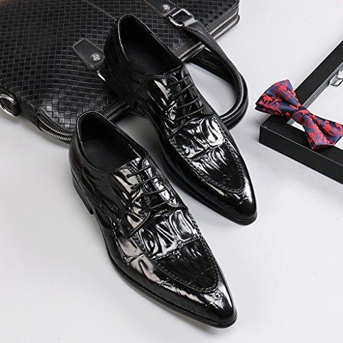 Zapatos Clásicos de Piel para Hombre Zapatos de cuero para hombres Negocios Ropa formal Zapatos de boda de encaje puntiagudo Novio ( Color : Marrón , Tamaño : EU 41/UK7 ) Negro