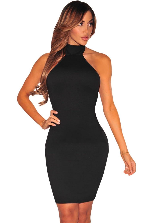 Goodbuy-US Women's Lace up Back Halter Sleeveless Bodycon Summer Mini Bandage Dress