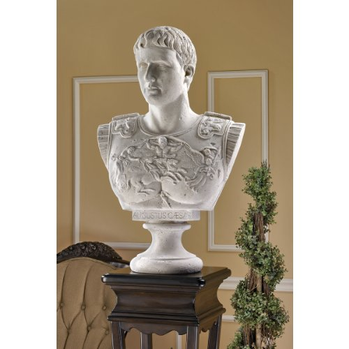 Bonded Marble Polyresin 29 cm White Design Toscano Caesar Augustus of Prima Porta Roman Replica Statue