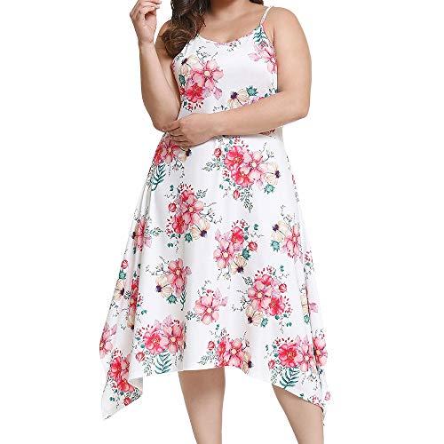 POHOK Women Strap Dress Large Size Summer Women Bohemian Sling Strapless Long Dress Print Beach Dress White ()