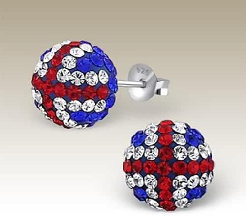 Sterling Silver UK Flag Crystal Ball Earrings 10 mm (E16907)