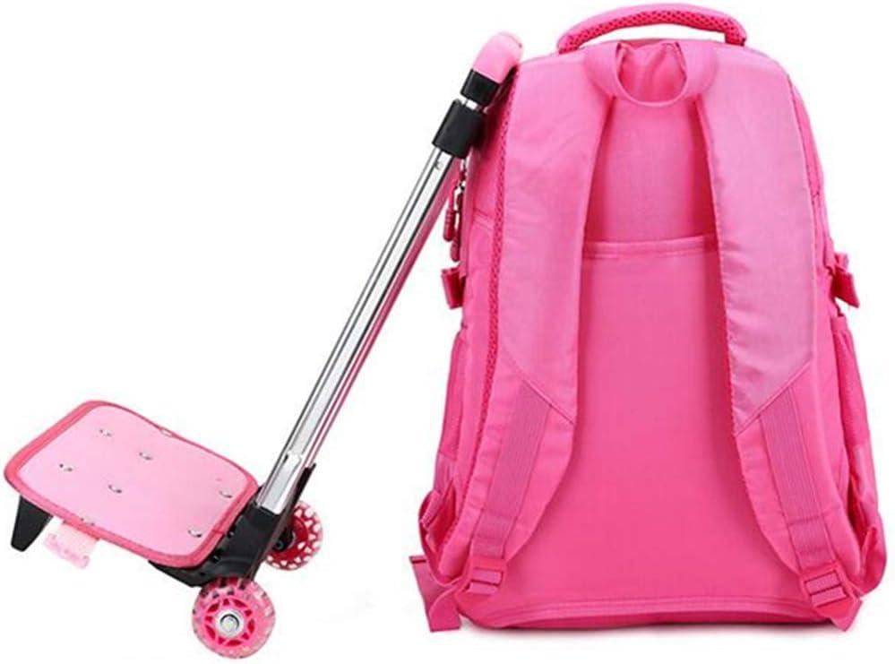 Trolley Backpack JOSEKO Child Kid Removable Wheeled Trolley Backpack School Hand Luggage Schoolbag Pink