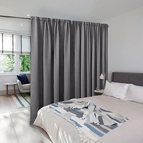 Room Divider Curtain Screen Partitions - NICETOWN Hide Clutter Separate Functions Back Tab Portable Room Divider Drape Panel for Sliding Door (Single Panel, 95